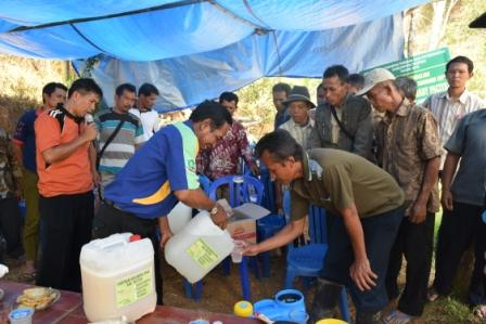 Pak Sarpin mengajari petani dalam pemakaian agens hayati